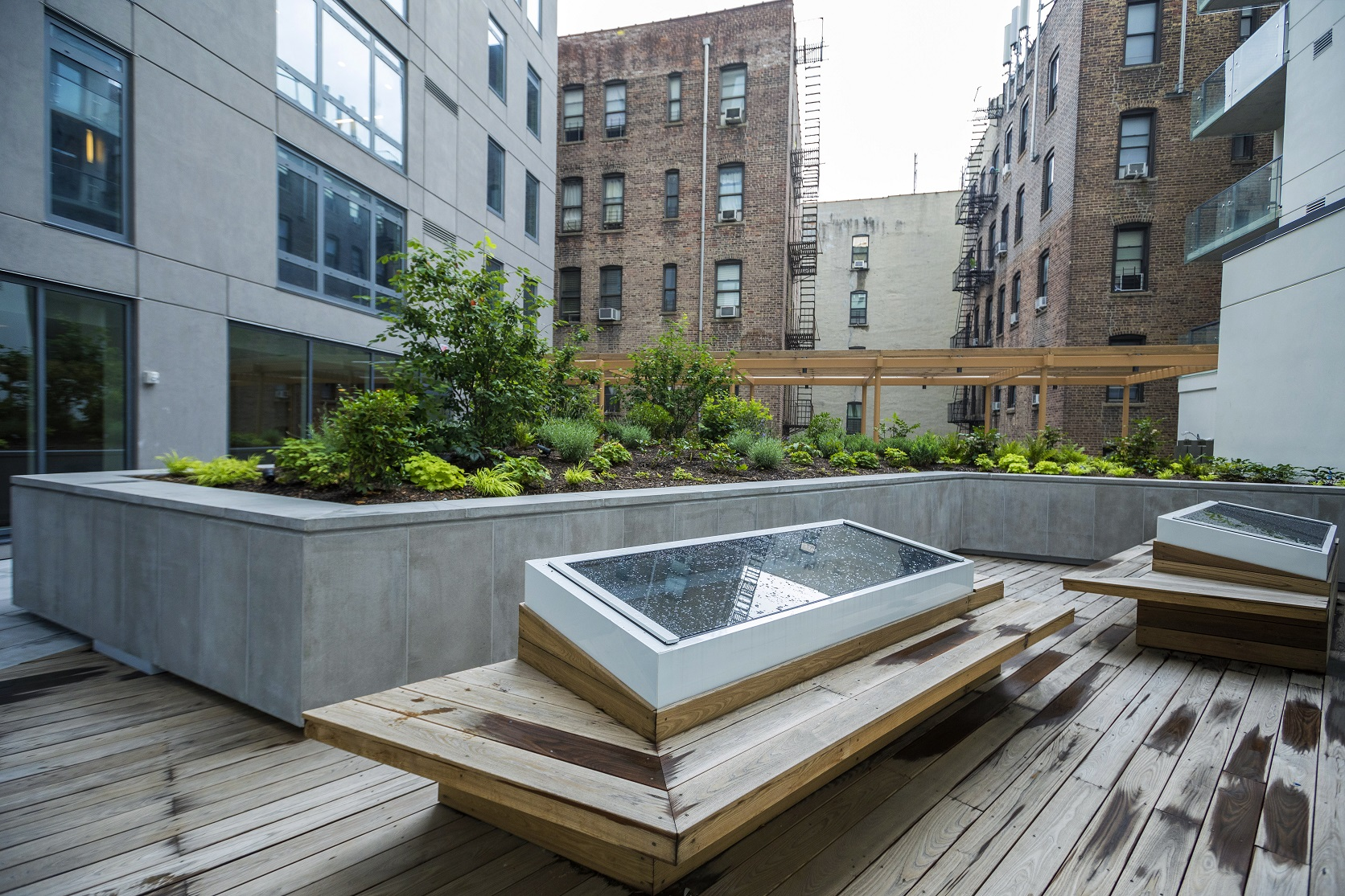 Expertly installed landscape elements create a beautiful, peaceful and sustainable amenity for the residents of this building