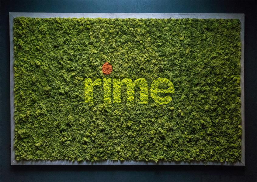 Incorporating the client's logo with contrasting shades of reindeer moss makes the letters pop against a textured background.
