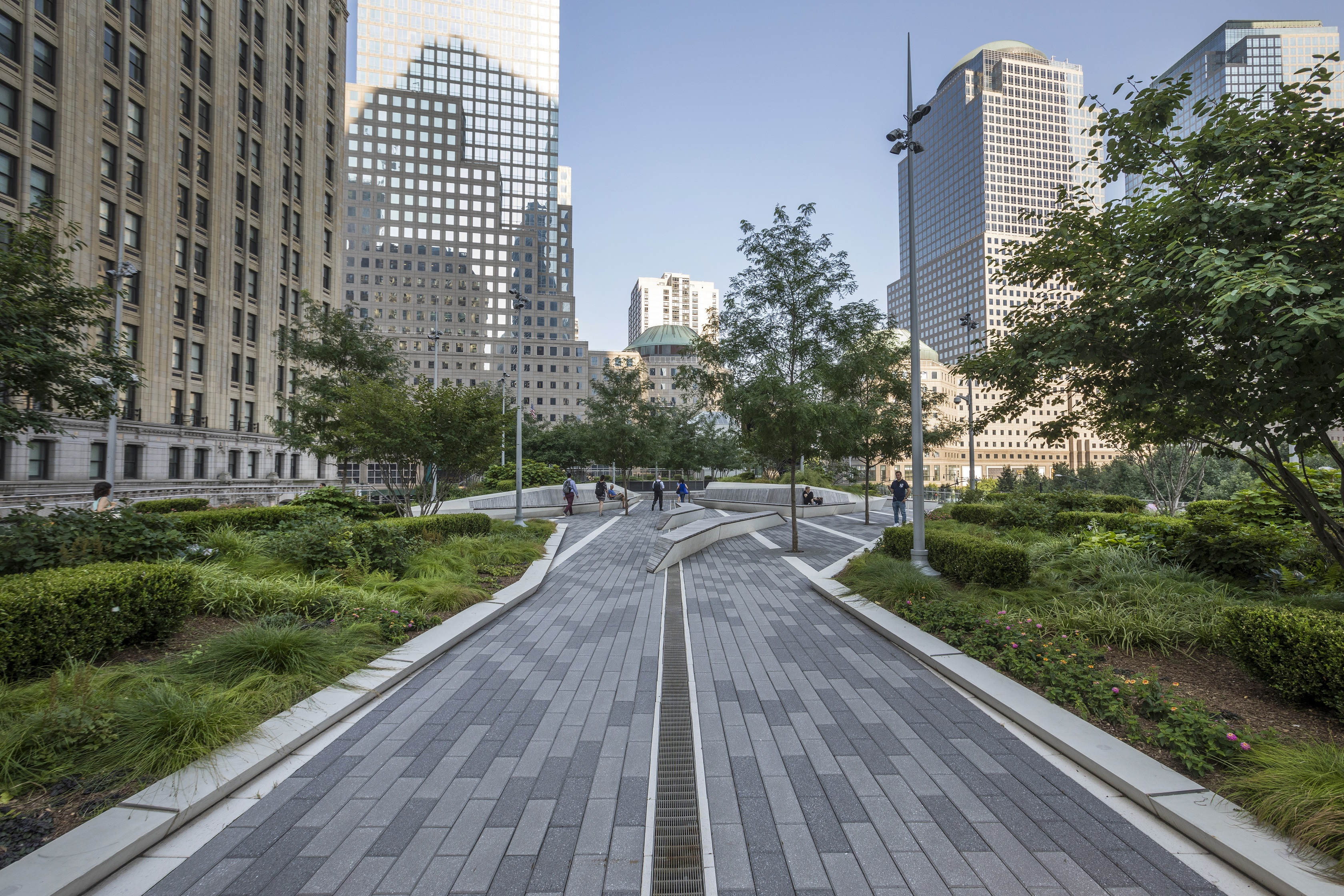 The sharp angles and clean lines cutting through this one-acre elevated park encourages passersby to stop and reflect.